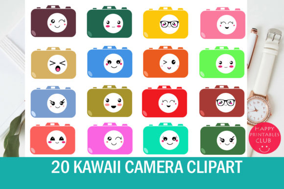 Print on Demand: 20 Kawaii Camera Clipart Graphic Illustrations By Happy Printables Club