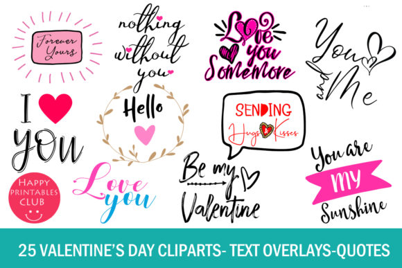 Print on Demand: 25 Valentine's Day Cliparts Graphic Illustrations By Happy Printables Club