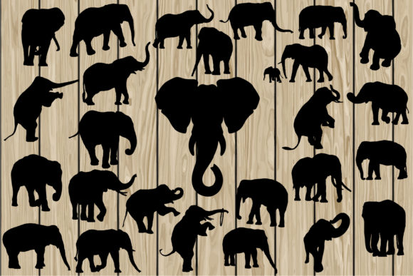 Download Free 26 Elephants Svg Graphic By Cosmosfineart Creative Fabrica for Cricut Explore, Silhouette and other cutting machines.