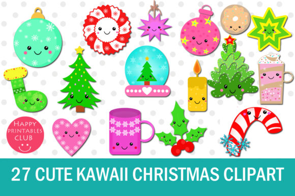 Download Free 27 Cute Kawaii Christmas Cliparts Graphic By Happy Printables for Cricut Explore, Silhouette and other cutting machines.