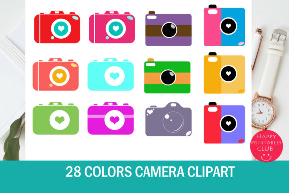 Print on Demand: 28 Colors Camera Clipart Set Gráfico Ilustraciones Por Happy Printables Club
