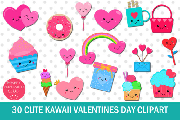 Print on Demand: 30 Cute Kawaii Valentines Day Clipart Graphic Illustrations By Happy Printables Club