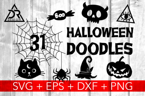Print on Demand: 31 Halloween Doodles Graphic Crafts By davidrockdesign - Image 1