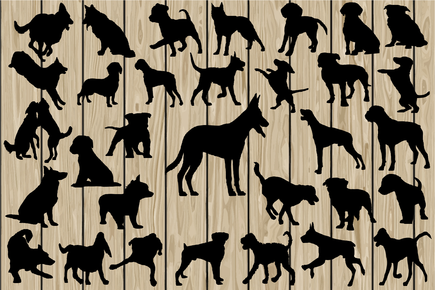 Download Free 32 Dogs Cutting Files Graphic By Cosmosfineart Creative Fabrica for Cricut Explore, Silhouette and other cutting machines.
