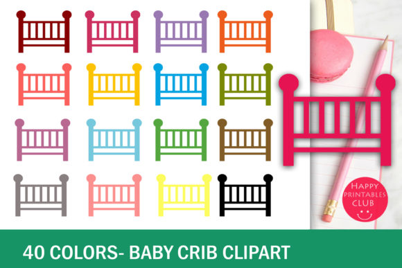 Print on Demand: 40 Baby Crib Clipart-Colorful Baby Crib Transparent Images Graphic Illustrations By Happy Printables Club