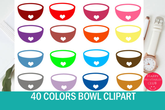Print on Demand: 40 Bowl Clipart - Food Bowl Clipart - Cute Bowls Clipart Images Graphic Illustrations By Happy Printables Club
