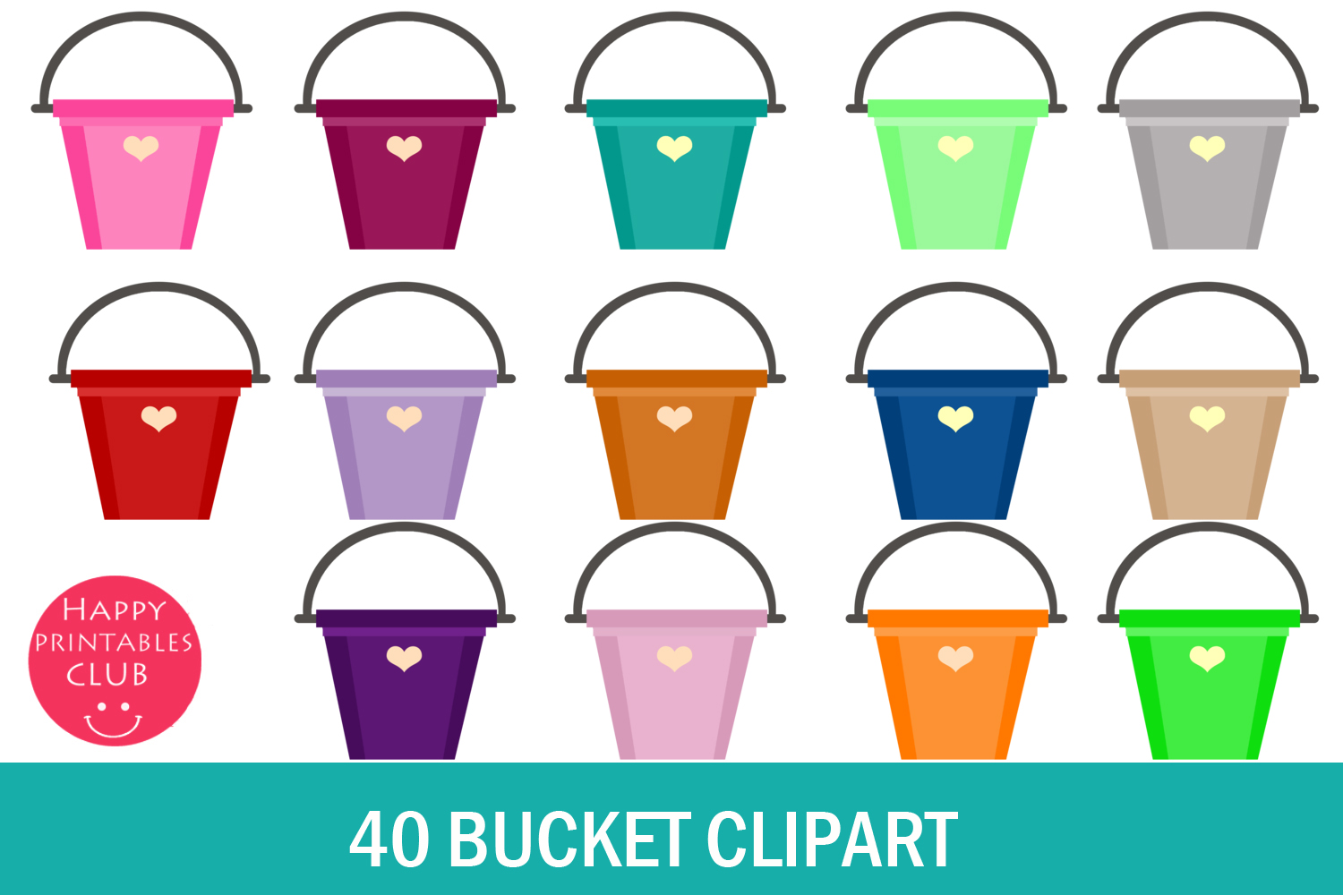 Download Free 40 Bucket Cliparts Graphic By Happy Printables Club Creative for Cricut Explore, Silhouette and other cutting machines.
