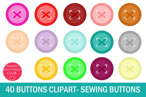 Print on Demand: 40 Button Clipart-Sewing Button Clipart Graphic Illustrations By Happy Printables Club