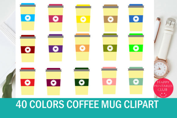 Print on Demand: 40 Coffee Mug Clipart Gráfico Ilustraciones Por Happy Printables Club