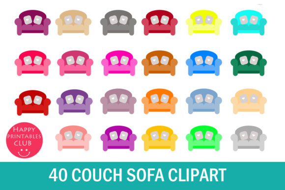 Print on Demand: 40 Couch Clipart Graphic Illustrations By Happy Printables Club