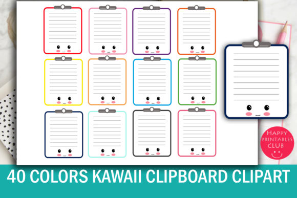 Print on Demand: 40 Cute Kawaii Clipboard Clipart- Clipboard Clipart Images-Kawaii Clipboard Graphic Illustrations By Happy Printables Club