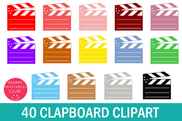 Print on Demand: 40 Film Clapboard Clipart Gráfico Ilustraciones Por Happy Printables Club