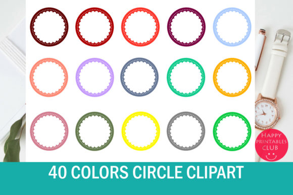 Print on Demand: 40 Scallop Circle Clipart Graphic Illustrations By Happy Printables Club