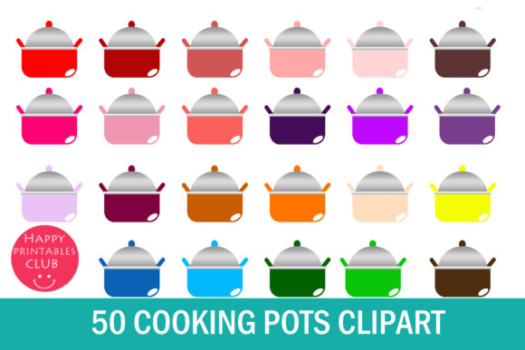 Print on Demand: 50 Cooking Pots Clipart-Pots Clipart-Kitchen Clipart- Cooking Pot Transparent Images Graphic Illustrations By Happy Printables Club