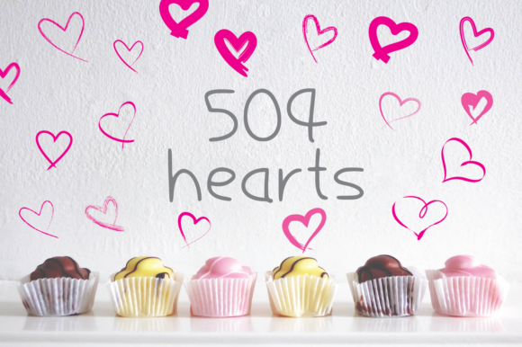 Print on Demand: 504 Hearts Hand Drawn for Love Graphic Elements Graphic Crafts By GraphicsBam Fonts