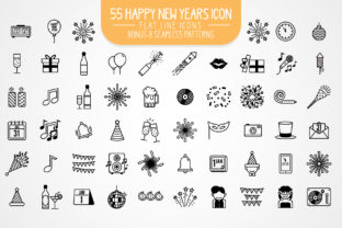 55 Happy New Year Flat Line Icons Graphic By luluimanda82