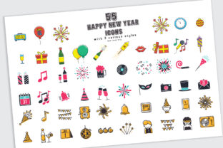 55 Happy New Year Icons in 3 Styles with Bonus Graphic By luluimanda82