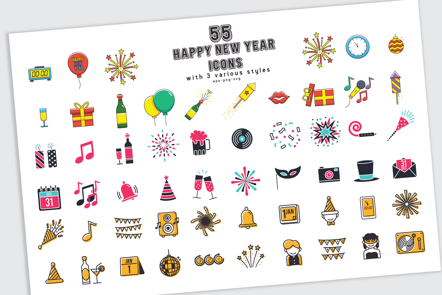 Download Free 55 Happy New Year Icons In 3 Styles With Bonus Graphic By for Cricut Explore, Silhouette and other cutting machines.