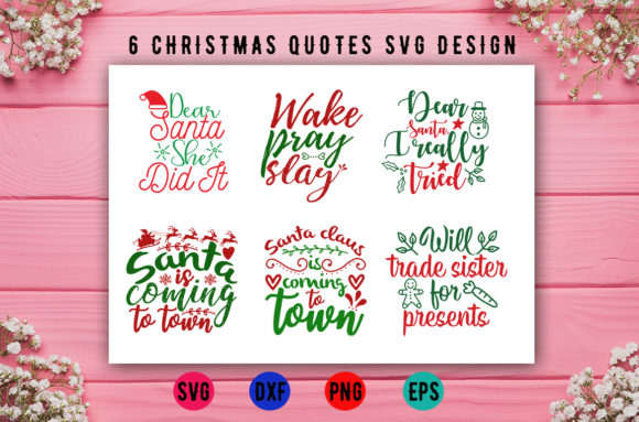 Download Free 6 Christmas Quotes Design Bundle Graphic By Artistcreativedesign for Cricut Explore, Silhouette and other cutting machines.