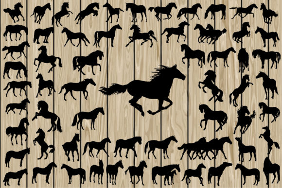 Print on Demand: 62 Horse Silhouettes Graphic Crafts By CosmosFineArt