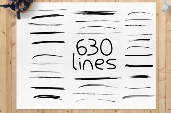 Print on Demand: 630 Lines Graphic Elements Graphic Objects By GraphicsBam Fonts