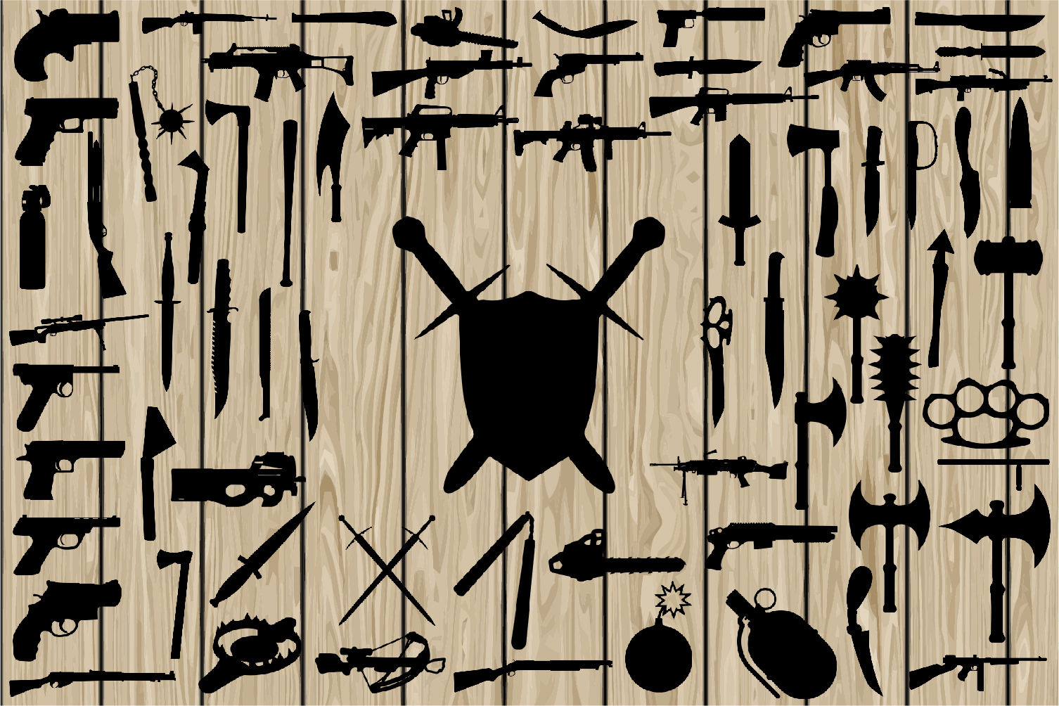 Download Free 70 Weapon Silhouettes Svg Graphic By Cosmosfineart Creative for Cricut Explore, Silhouette and other cutting machines.