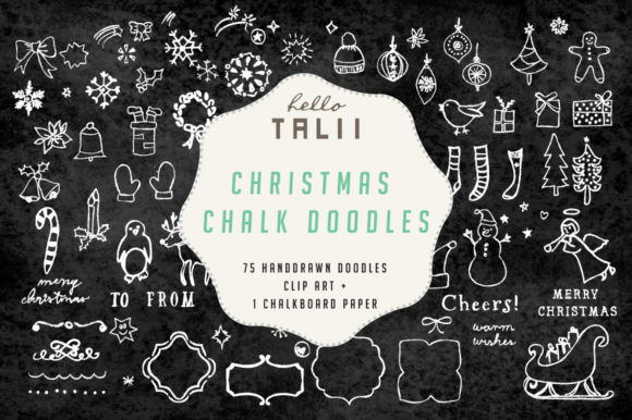 75 Christmas Chalk Doodles Graphic Illustrations By Hello Talii