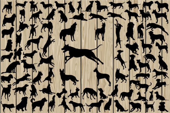 Print on Demand: 90 Dog Silhouettes SVG Graphic Crafts By CosmosFineArt