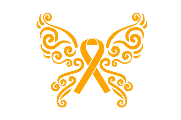 A Butterfly with Orange Ribbon in the Middle Awareness Craft Cut File By Creative Fabrica Crafts
