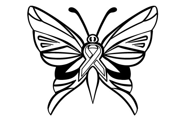Download Free A Butterfly With Turqoise Ribbon In The Middle Svg Cut File By for Cricut Explore, Silhouette and other cutting machines.