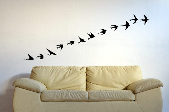 A Flock of Swallow Birds Flying in Line Silhouette 24x39 Inch Wall Art Craft Cut File By Creative Fabrica Crafts