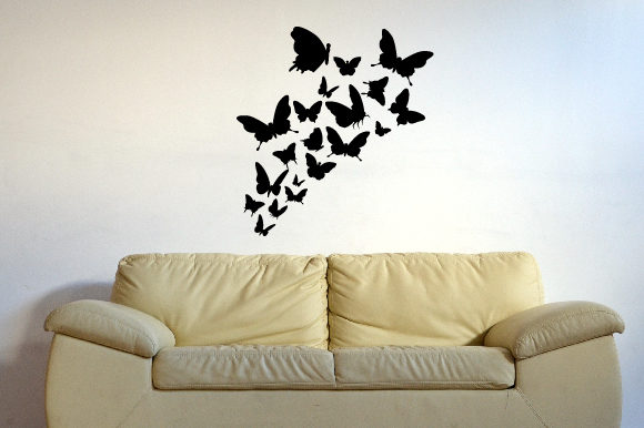 A Lot of Butterflies Flying Together Silhouette Wall Art Craft Cut File By Creative Fabrica Crafts - Image 1
