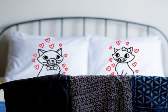 A Male Cat Looking Right on One Pillow, and a Female Cat Looking Left on Another Pillow 10 X 13 Inch Love Craft Cut File By Creative Fabrica Crafts
