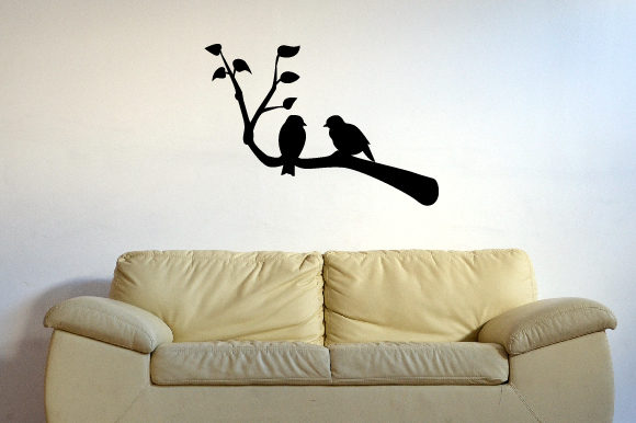 A Tree Branch with Leaves and a Couple of Birds on It Silhouette Arte Mural Archivo de Corte Craft Por Creative Fabrica Crafts