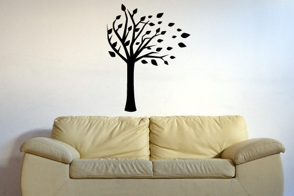 A Tree with Some of Its Leaves Being Blown Away Silhouette , Fits 39x39 Inch Craft Design By Creative Fabrica Crafts