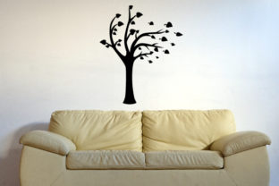 A Tree with Some of Its Leaves Being Blown Away Silhouette, Fits 39x39 Inch Wall Art Craft Cut File By Creative Fabrica Crafts