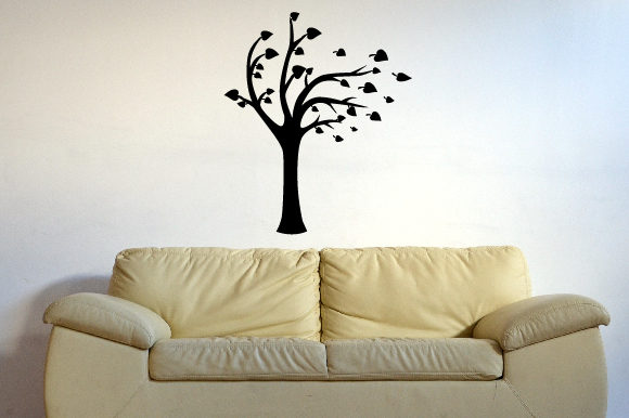 A Tree with Some of Its Leaves Being Blown Away Silhouette, Fits 39x39 Inch Craft Design By Creative Fabrica Crafts