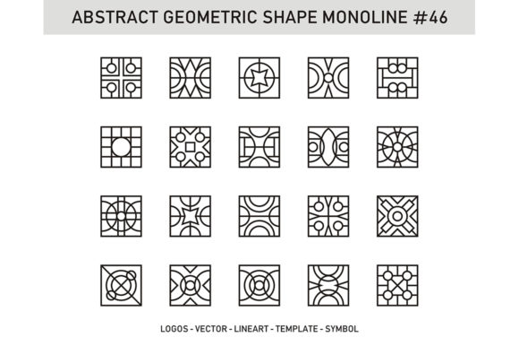 Abstract Geometric Shape Monoline 46 Graphic Patterns By Acongraphic