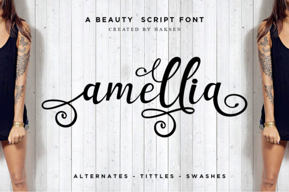Print on Demand: Amellia Script & Handwritten Font By Haksen