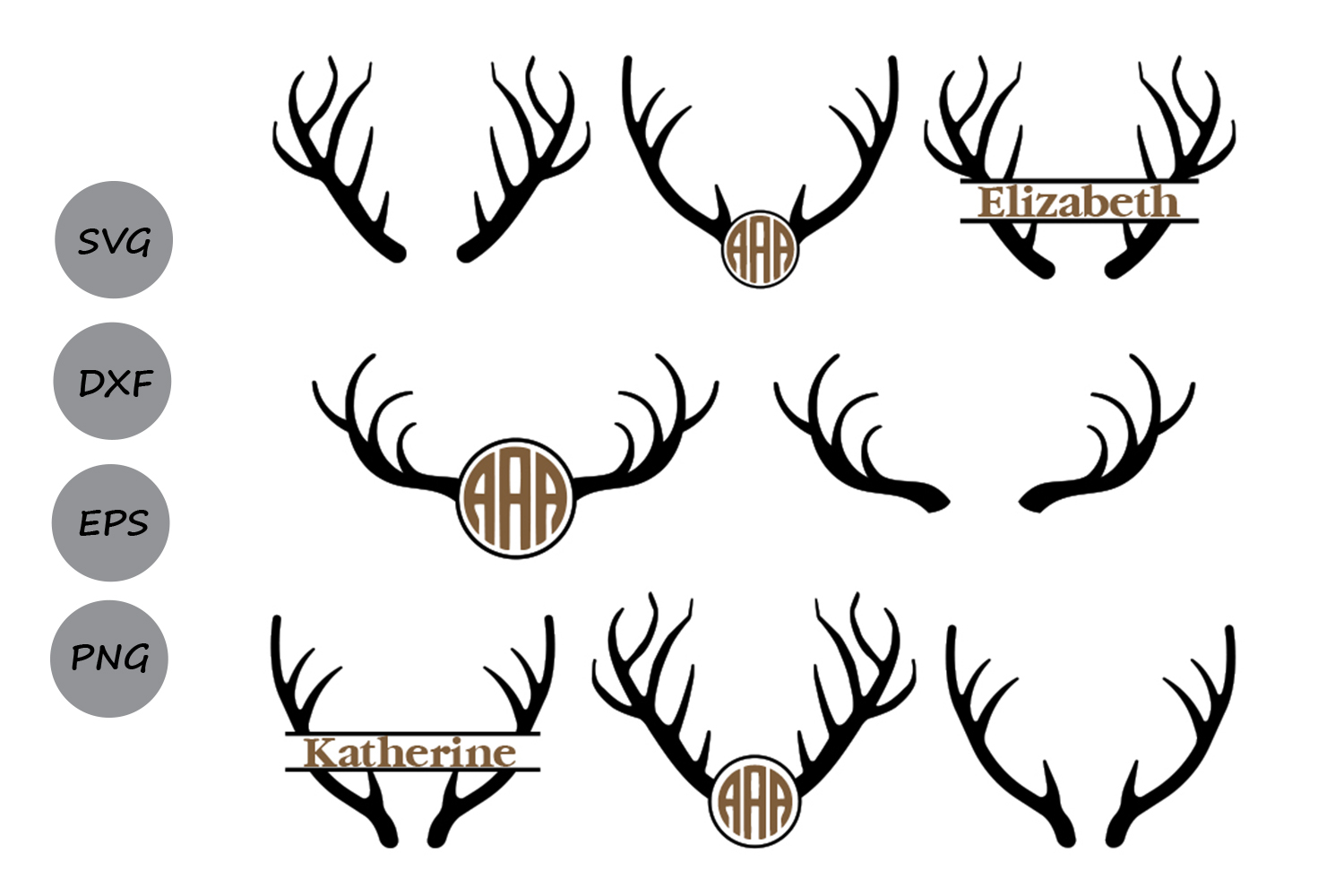 Download Free Antlers Monogram Graphic By Cosmosfineart Creative Fabrica for Cricut Explore, Silhouette and other cutting machines.