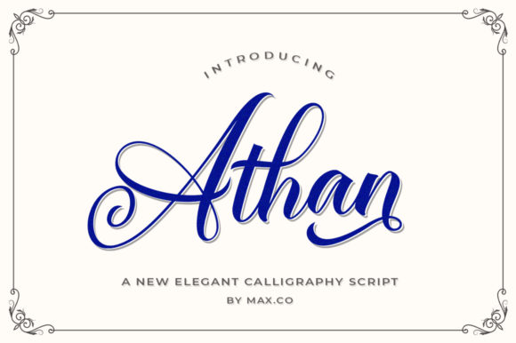Print on Demand: Athan Script Script & Handwritten Font By Max.co