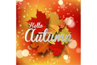 Autumn Background with Leaves Graphic By ojosujono96