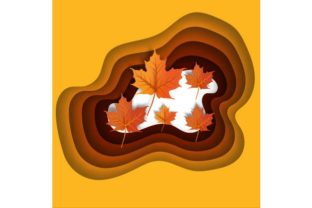 Autumn Leaves Paper Cut Style Background Graphic By ojosujono96