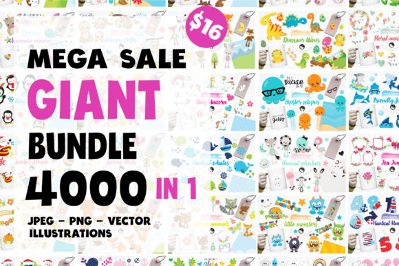 Print on Demand: BLACK FRIDAY - GRAPHIC GIANT BUNDLE - 4000 in 1 Graphic Illustrations By Prettygrafik