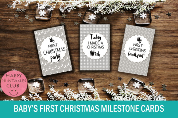 Baby S First Christmas Milestone Cards Graphic By Happy