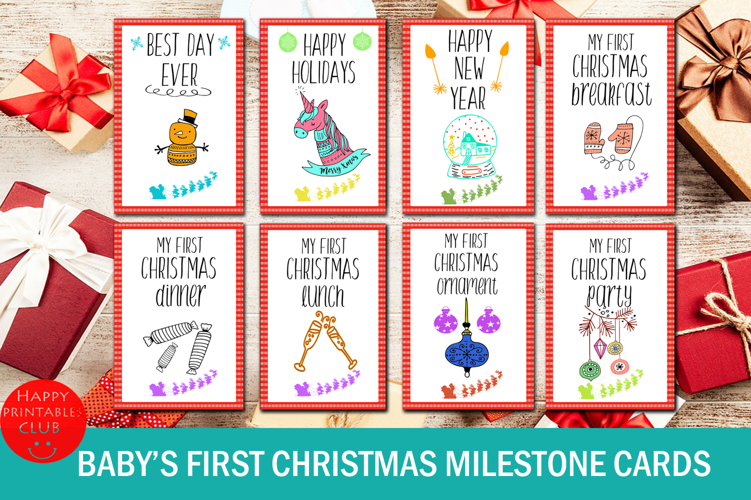 Download Free Baby S First Christmas Milestone Cards Graphic By Happy for Cricut Explore, Silhouette and other cutting machines.