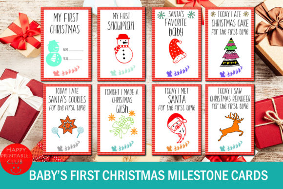 Download Free Baby S First Christmas Milestone Cards Grafico Por Happy for Cricut Explore, Silhouette and other cutting machines.