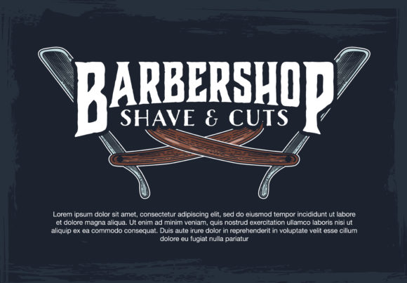 Download Free Barber Shop Banner With Sketch Engraving Illustration Graphic By for Cricut Explore, Silhouette and other cutting machines.