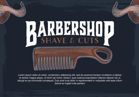 barber shop hipster vintage sign template graphic by inkwellapp