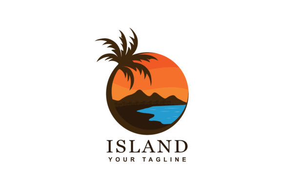 Download Free Beach And Island Logo Design Graphic By Sabavector Creative for Cricut Explore, Silhouette and other cutting machines.